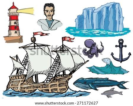set of illustration of marine related motives - stock photo