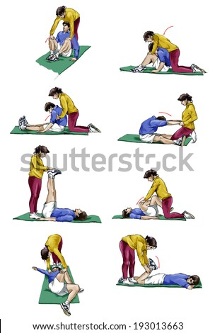 Set of illustrations of a couple doing stretching exercises - stock photo