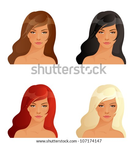 set of illustrations of beautiful women showing different hair colors - stock photo