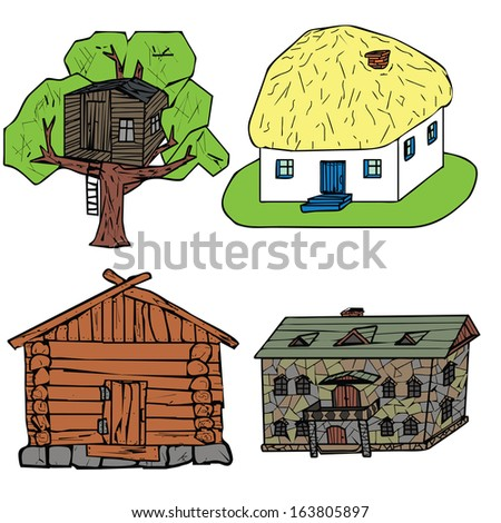 set of illustrations of buildings structures - stock photo