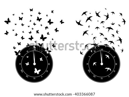 set of  illustrations with clock, butterflies and swallows in black and white - stock photo
