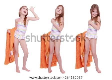 Set of image of beautiful caucasian little girl in swimsuit holding orange towel - stock photo