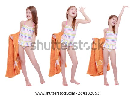 Set of image of beautiful caucasian little girl in swimsuit holding orange towel isolated over white background - stock photo