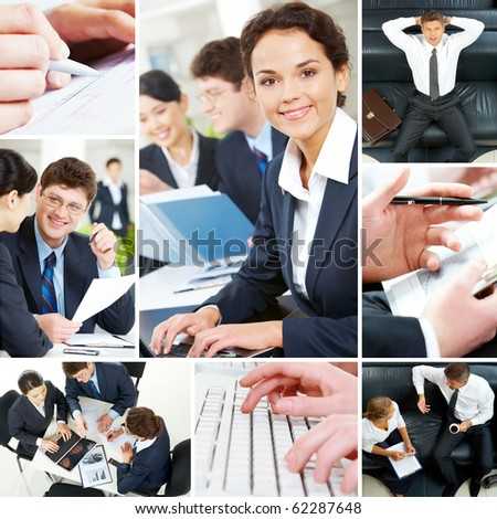 Set of image with business people during work - stock photo