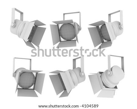 Set of images of spotlights from the different points of view - stock photo