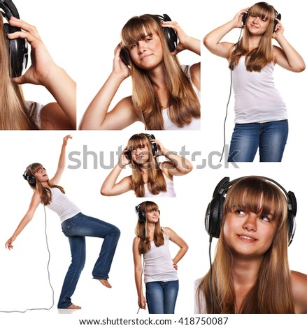 Set of images smiling teen girl listening to music isolated on white  - stock photo