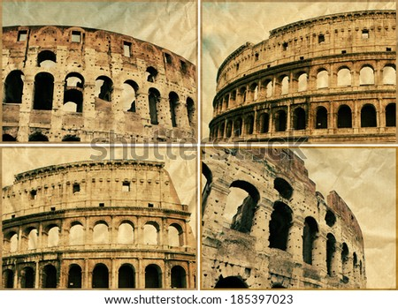 Set of images with The Colosseum in Rome on old paper  - stock photo