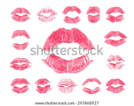 Set of 15 imprint of pink lipstick. Silhouettes of light pink lips isolated on white background. Qualitative trace of real lipstick texture. Can be used as a decorative element for print or design. - stock photo