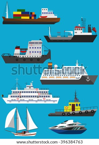 Set of industrial cargo and passenger ships and boats. Raster illustration - stock photo