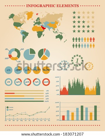 Set of infographic elements for your reports and documents (Vector version is also available in my portfolio, ID 126887372) - stock photo