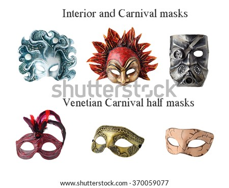 Set of 6 Interior and carnaval masks. Handmade papier mache, acrylic paints and accessories.  Isolated on white background. More masks http://www.shutterstock.com/sets/13916221-masks.html?rid=2867935 - stock photo