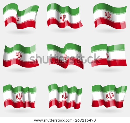Set of Iran flags in the air.  illustration - stock photo