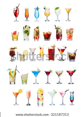 Set of isolated cocktails and mocktails with fruits in highball glasses. Garnished, decorated, colorful, clean,vivid colors. World popular - stock photo