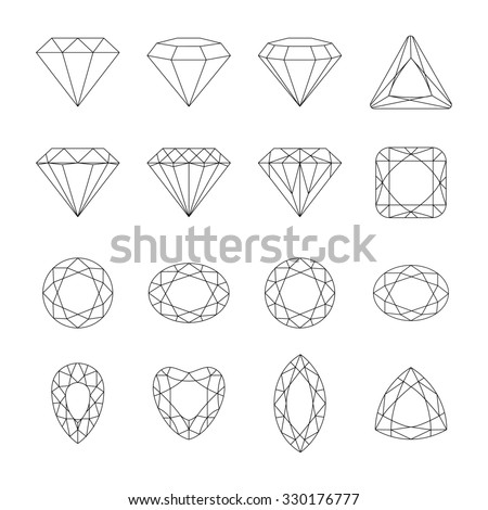 Set of isolated gem stones. Set of diamond design elements. Precious gem stones set of forms. - stock photo