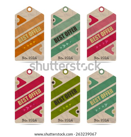 set of isolated paper price tags  - stock photo