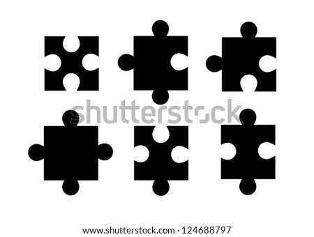 Set of isolated puzzle pieces on white background. - stock photo