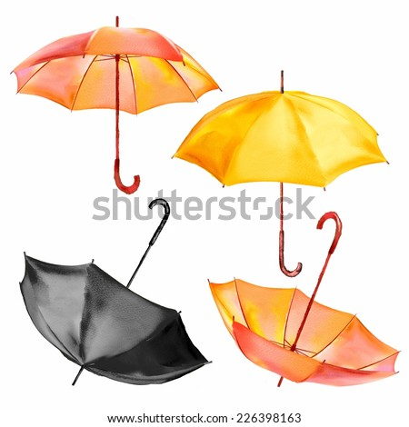 Set of isolated watercolor yellow, orange and black umbrellas. Fully generated in raster editing programs. - stock photo