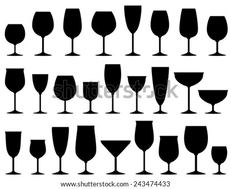 set of isolated wine and dessert glasses on white background - stock photo