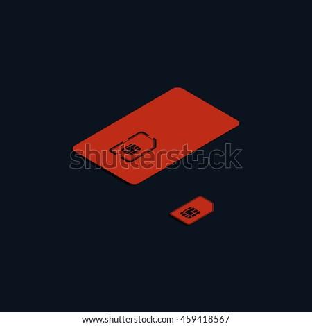 Set of isometric sim card and case illustration. - stock photo