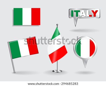 Set of Italian pin, icon and map pointer flags. Raster version - stock photo