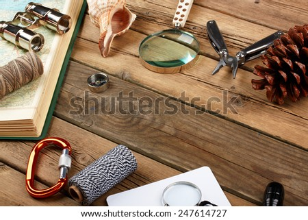 Set of items for tourists and travelers - stock photo