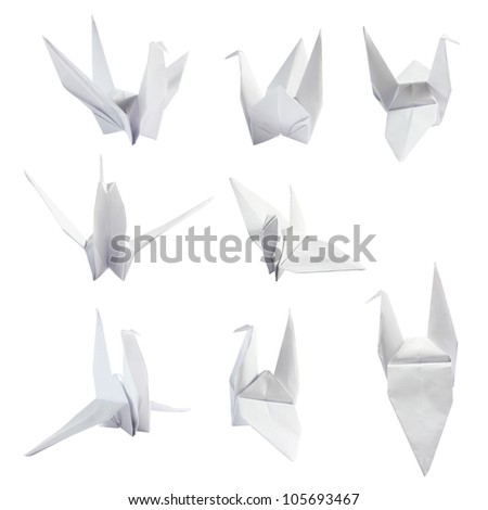 set of Japanese paper craft origami bird. isolated on a white background (Save Paths For design work) - stock photo