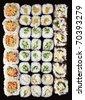 Set of Japanese sushi background - stock photo