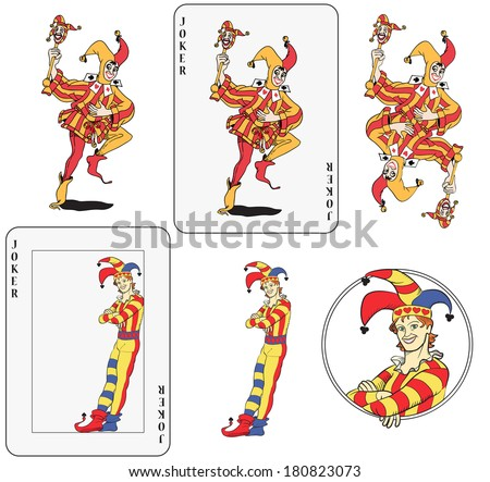Set of jokers playing card. Isolated, framed inside card, symmetric and inside a circle.  - stock photo