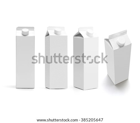 set of juice boxes. Retail package mockup set - stock photo