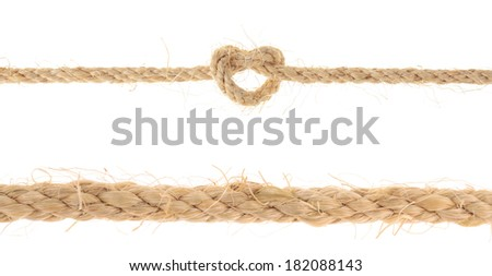 set of Jute Rope with Reef Knot isolated on white background  - stock photo