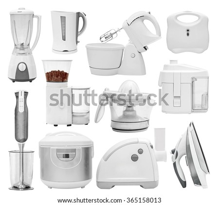 Set of kitchen appliances, devices, equipment (blender, grinder, mill, multi cooker, crock-pot, disassembled, mincer, hasher, chopper, extractor, squeezer, mixer, iron)  isolated on white - stock photo
