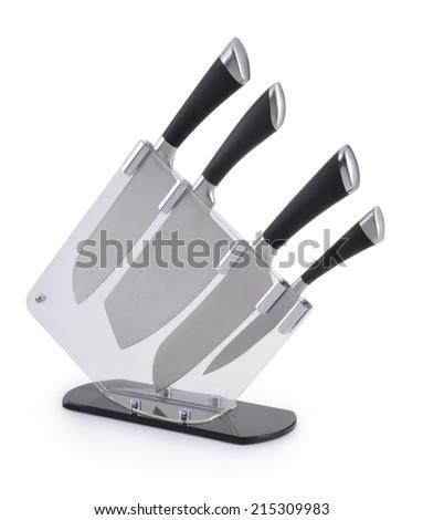 Set of kitchen knives - stock photo