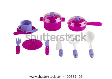 Set of kitchen utensil toys isolated on white background - stock photo