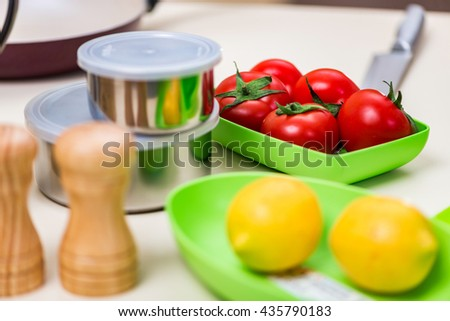 Set of kitchen utensils on the table - stock photo
