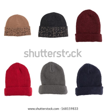Set of knitted wool hats isolated on white background - stock photo