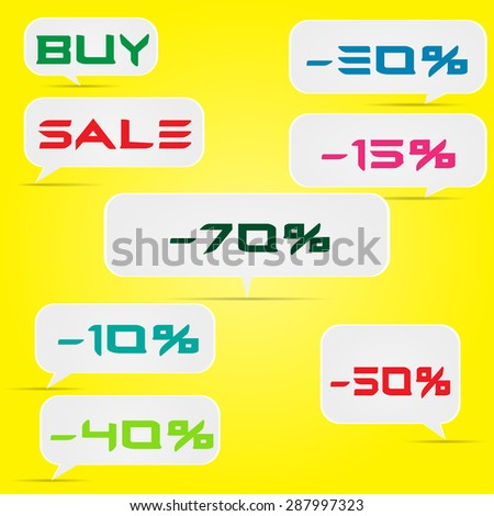 Set of labels discounts, sales on a yellow background - stock photo