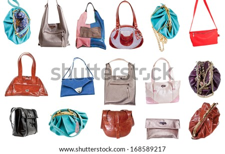 set of ladies handbags isolated on white background - stock photo