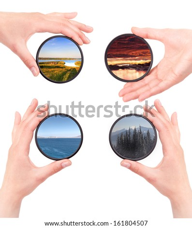 set of landscapes throw camera filter isolated on a white background - stock photo