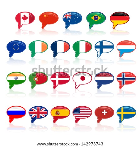 set of  language bubble with flags, - stock photo