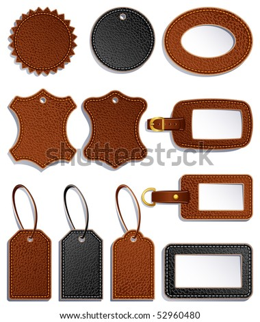 set of leather luggage labels and tag - raster version - stock photo