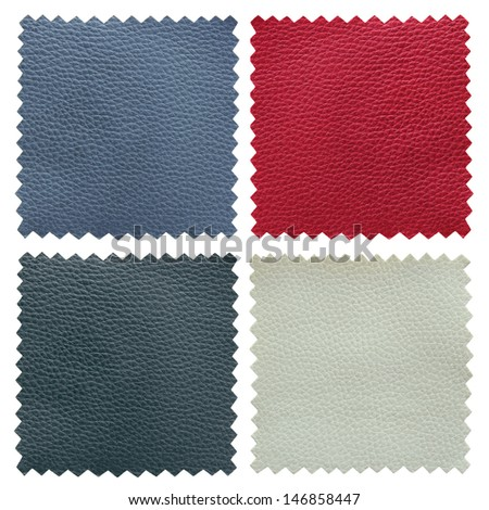 set of leather samples texture - stock photo