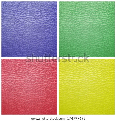 set of leather samples texture for background - stock photo