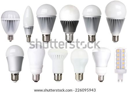 set of LED bulbs isolated on white background  - stock photo