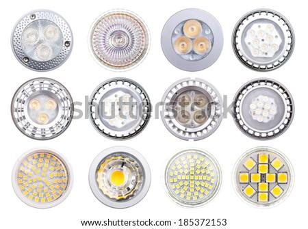 set of LED isolated on white background - stock photo