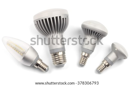 Set of LED light bulbs with E14 base. Isolated on white with clipping path - stock photo