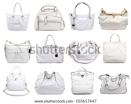 Set of light female bags on a white background.12 pieces. - stock photo