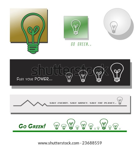 Set of Lightbulb Banners and Symbols - stock photo