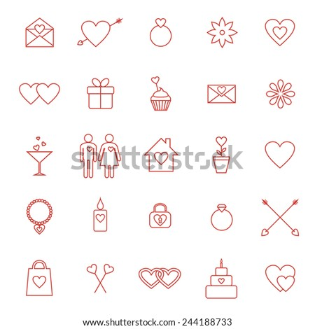 Set of line icons for Valentine day or wedding design. Raster version - stock photo
