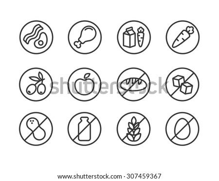 Set of line icons of diets and ingredients. Including vegetarian, vegan, gluten free, dairy free and more. - stock photo