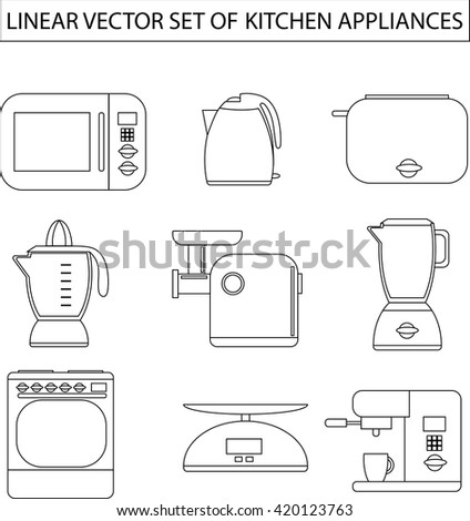 Set of linear kitchen appliances. Microwave, electric kettle, toaster, blender, meat grinder, juicer, oven, scales, coffee machine or espresso machine, maker. For print or web.Shopping cooking  - stock photo